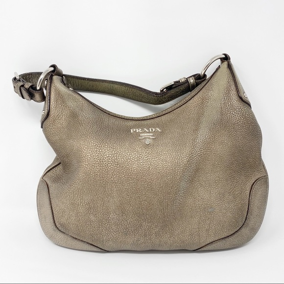 Prada Handbags - Prada Hobo Bag Vitello Daino Pewter Pebble Leather